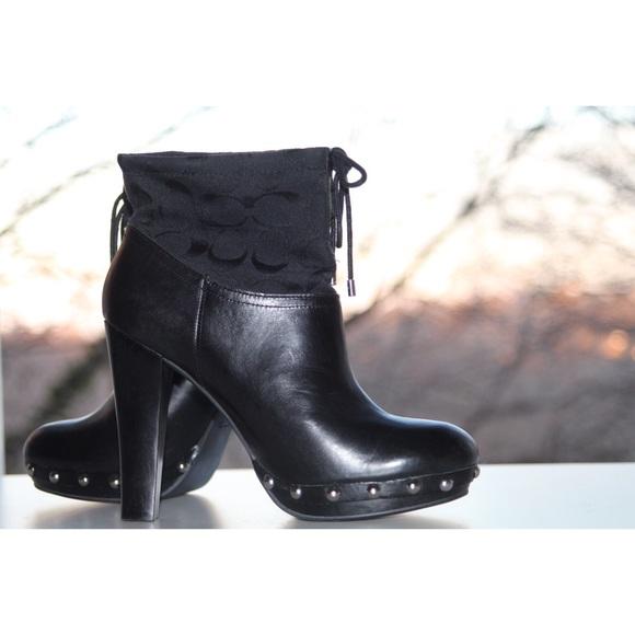 8babf1e655a Coach Shoes - Coach Black Ediva Signature Lace Up Ankle Booties